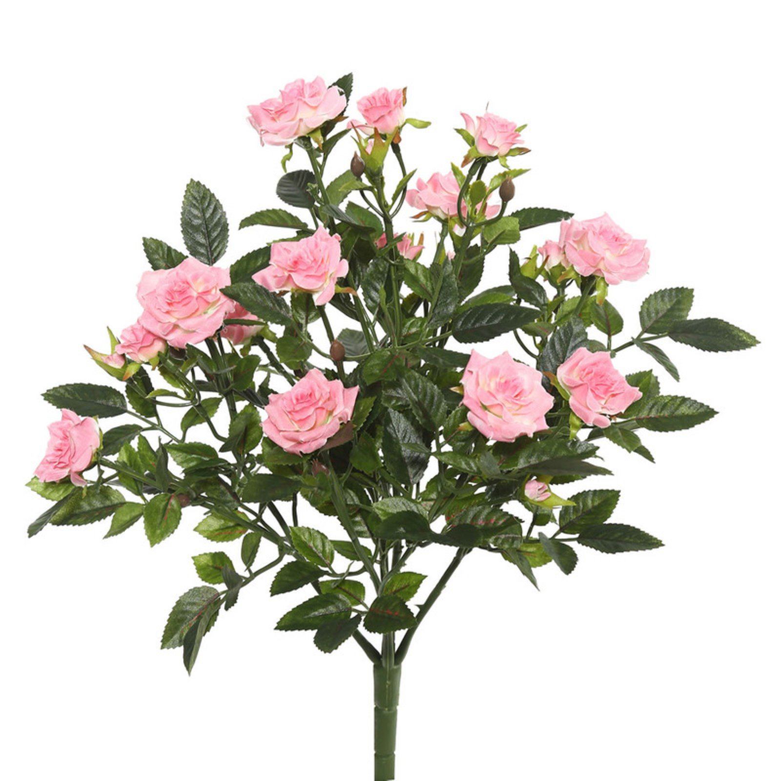 "Vickerman 15"" Light Pink Mini Diamond Rosa Bush with 249 Leaves, 38 Flowers and Buds"