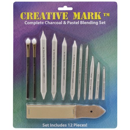 Pencil Charcoal Drawings - Creative Mark Complete Charcoal and Pastel Blending Set For Drawing Media Charcoal, Pencil, Pastels, Sponge Blenders, Stomps, Tortillions, Sandpaper Pad