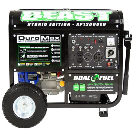 DuroMax XP12000EH Durable 12000 Watt 18 HP Portable Hybrid Gas Propane Generator
