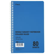 "Mead Spiral Notebook, DuraPress Cover, 1 Subject, College Ruled, 80 Sheets, 6"" x 9"", Blue"