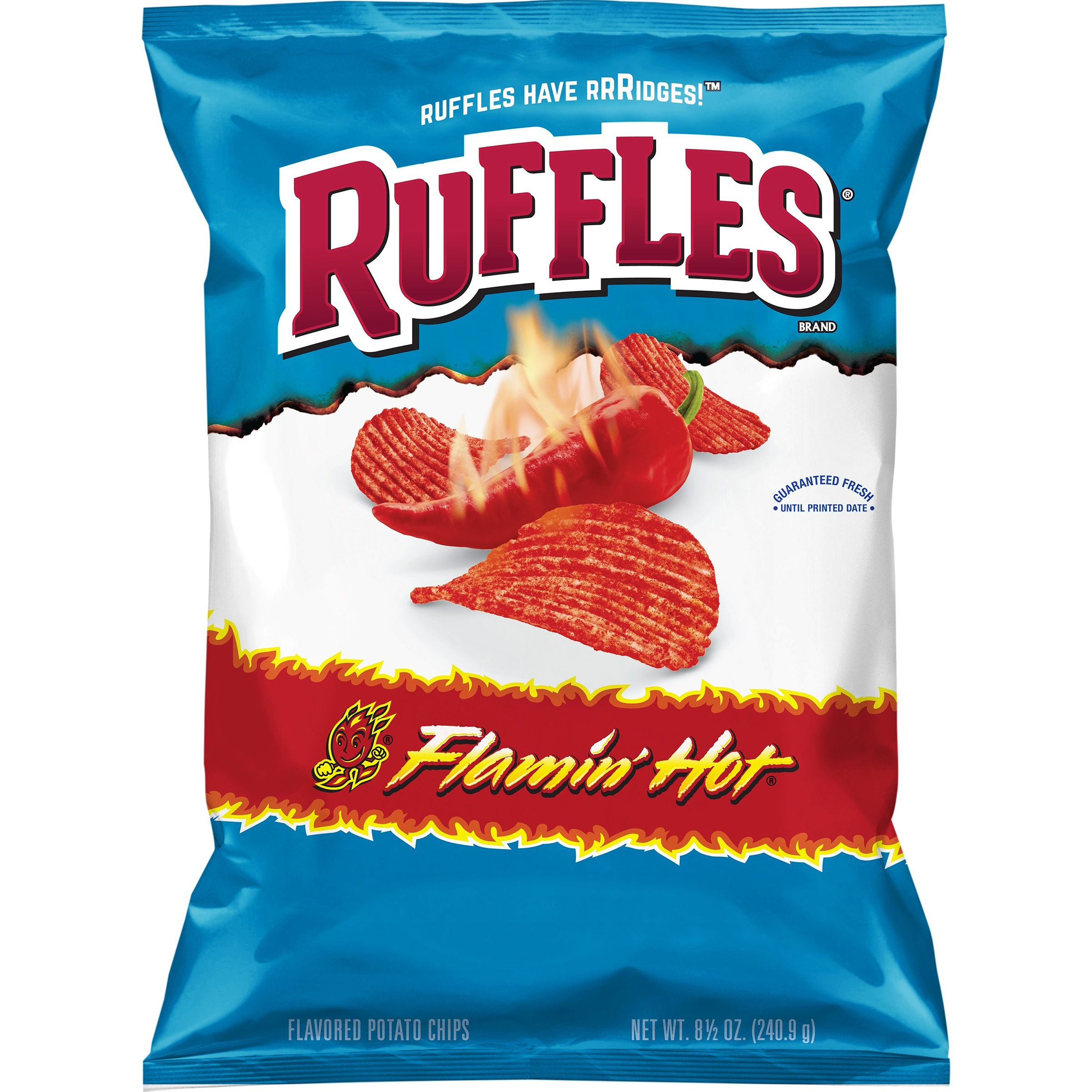 (3 Bags) Ruffles Flamin Hot Potato Chips, 8.5 oz