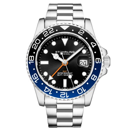 Ambassador Series: 3965.1 Men's Watch 2 time zone quartz GMT Dive Watch 10 ATM Magni-Date Window Stainless Steel Bracelet Swiss Quartz Movement