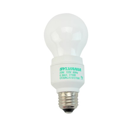 Sylvania CF20RC/A19/827 29537 A19 E26, 2700K, CFL Light Bulb, 20W, (6 PACK) (20w Cfl)