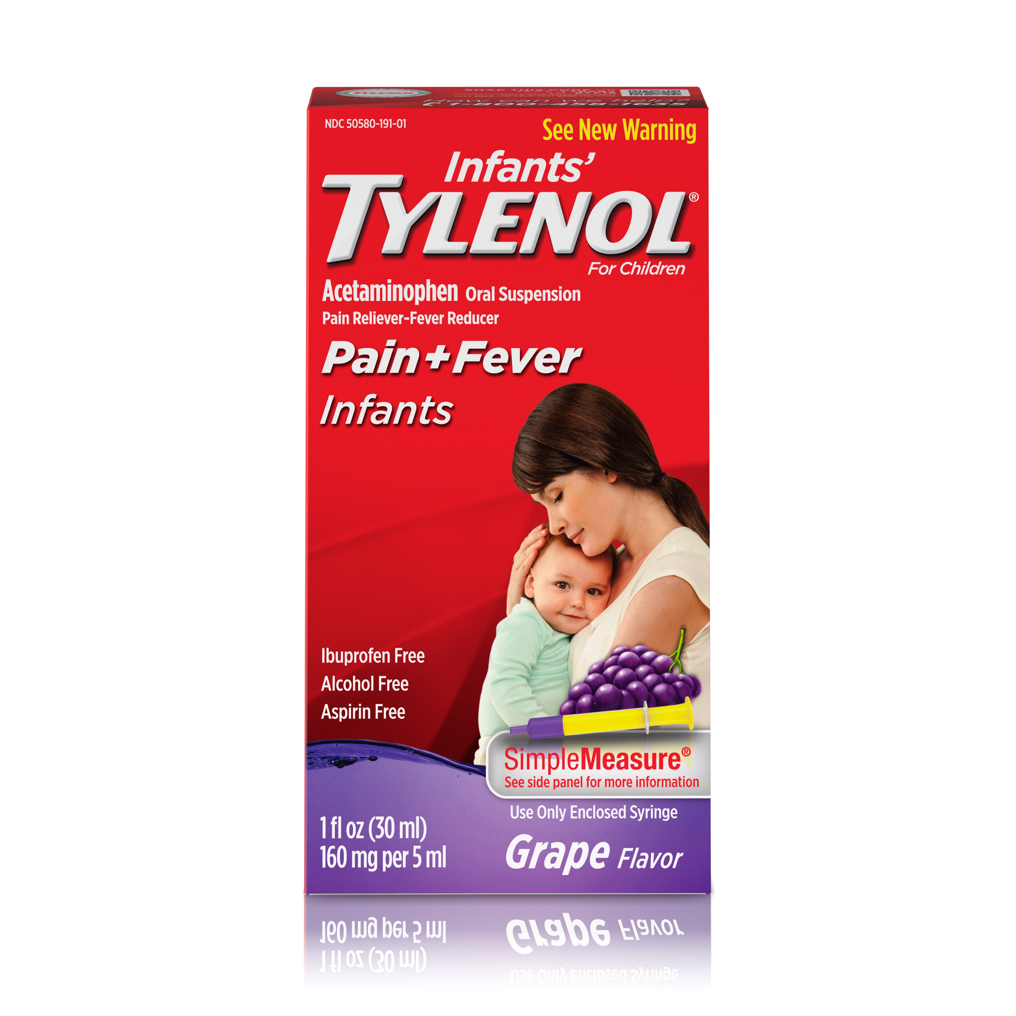 Infants' Tylenol Oral Suspension, Fever Reducer and Pain Reliever, Grape, 1 fl oz