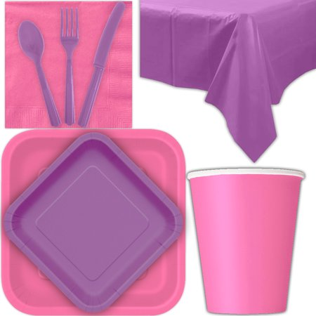 Hot Pink Square Dessert (Disposable Party Supplies for 28 Guests - Hot Pink and Pretty Purple - Square Dinner Plates, Square Dessert Plates, Cups, Lunch Napkins, Cutlery, and Tablecloths:  Tableware Set)