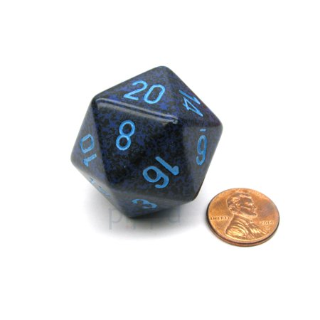 Chessex 34mm Large 20-Sided D20 Speckled Dice, 1 Die - Cobalt #XS2053