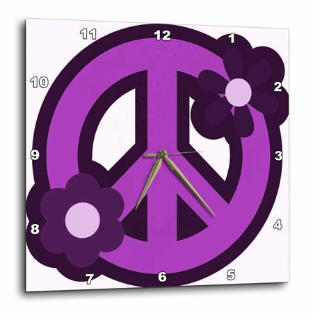 3Drose Purple Peace Sign With Purple Flowers  Wall Clock  10 By 10 Inch