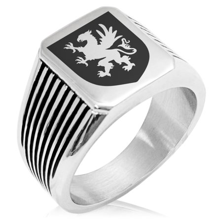 Griffin Coat Of Arms (Stainless Steel Griffin Valor Coat of Arms Shield Needle Stripe Pattern Biker Style Polished Ring)
