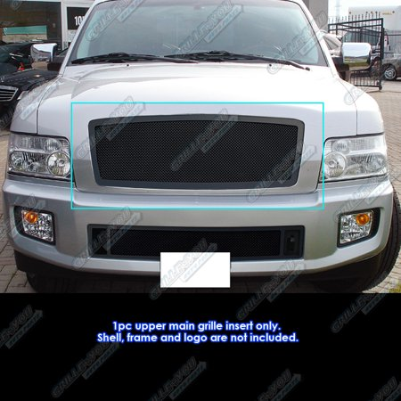 Compatible with 04-10 Infiniti QX56 Black Mesh Grille Insert