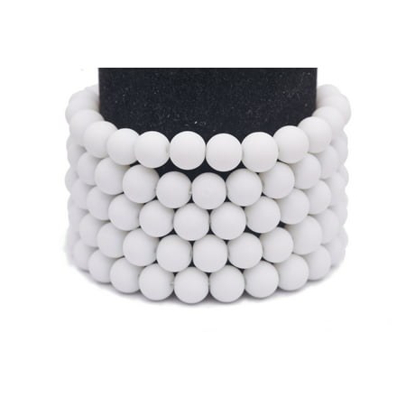Frosted Glass Beads White Rubber-Tone Beads 6mm Round Sold Per Pkg of 3x32Inch (465 Beads)