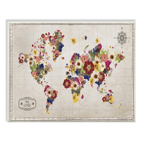 The Stupell Home Decor Collection Floral World Map Graphic Art Wall Plaque