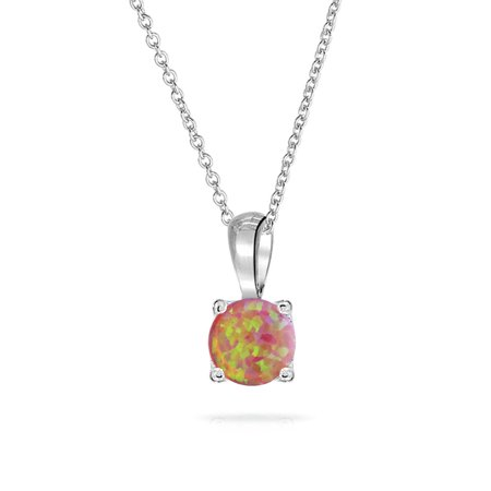 Created Pink Tourmaline Pendant - 1Ct Solitaire Round Prong Set Pink Created Opal Pendant Necklace For Women 925 Sterling Silver October Birthstone