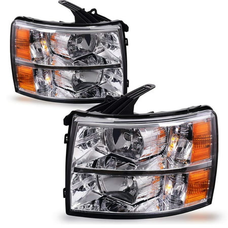 - Headlight Assembly for 2007 2008 2009 2010 2011 2012 2013 2014 Chevy Silverado Replacement Headlamp Driving Light Chromed Housing Amber Reflector Clear Lens,1 Year Warranty