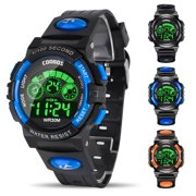 Kids Digital Watch, Boys Sports Waterproof Led Watches with Alarm, Stopwatch, Multifunctional Outdoor Electronic Analog Quartz Wrist Watches with Colorful LED Display, Gift for Boy Girls Children