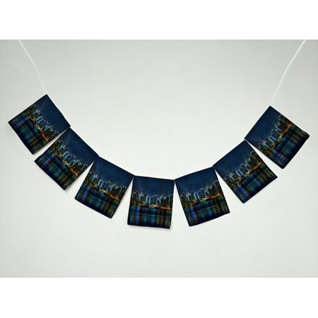 ZKGK NYC New York City Colorful Buildings At Night Banner Bunting Garland Flag Sign for Home Family Party Decoration