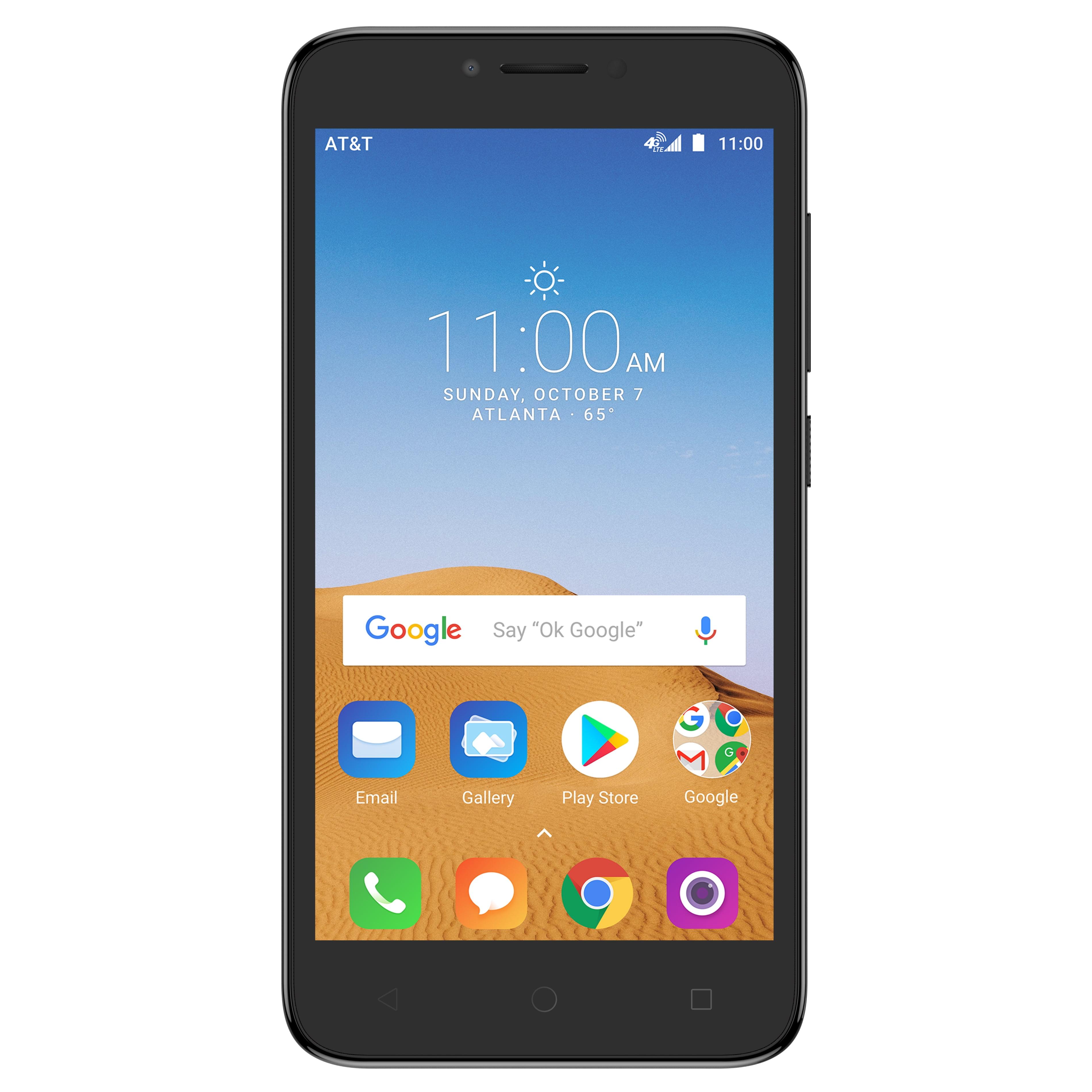 AT&T PREPAID Alcatel TETRA 16GB Prepaid Smartphone, Black