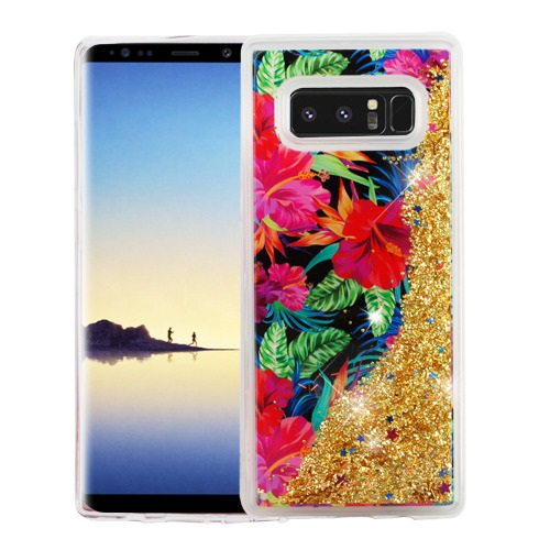 Valor Quicksand Glitter Electric Hibiscus PC/TPU Rubber Case Cover for Samsung Galaxy Note 8 - Multicolor