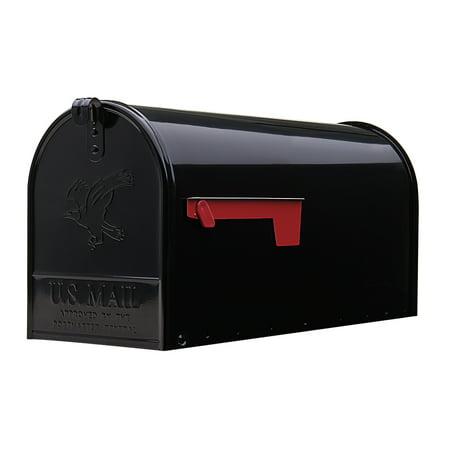 Gibraltar Elite Large  Galvanized Steel  Black Post Mount Mailbox