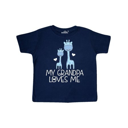 Grandpa Loves Me Boys Giraffe Animal Toddler T-Shirt (Grandpa Giraffe)