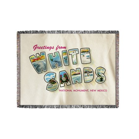 Greetings From White Sands National Monument  New Mexico  60X80 Woven Chenille Yarn Blanket