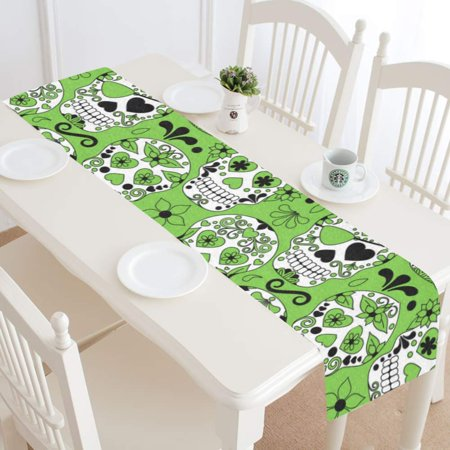MKHERT Colorful Sugar Skull Table Runner for Kitchen Wedding Party Home Decor 14x72 inch