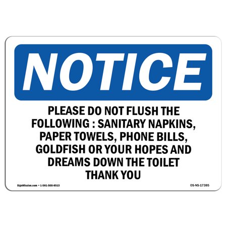 OSHA Notice Sign - Please Do Not Flush The Following Sanitary | Choose from: Aluminum, Rigid Plastic or Vinyl Label Decal | Protect Your Business, Work Site, Warehouse & Shop Area |  Made in the (Best Name For Sanitary Shop)