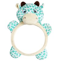 Baby Car Seat Mirrors,Rear View Baby Mirror,Rear Facing Mirror, Discover and Play Activity Mirror Shatterproof, Plush Animal Toy, Baby-in-Sight Watch Infant in Back Seat While Driving - Cow