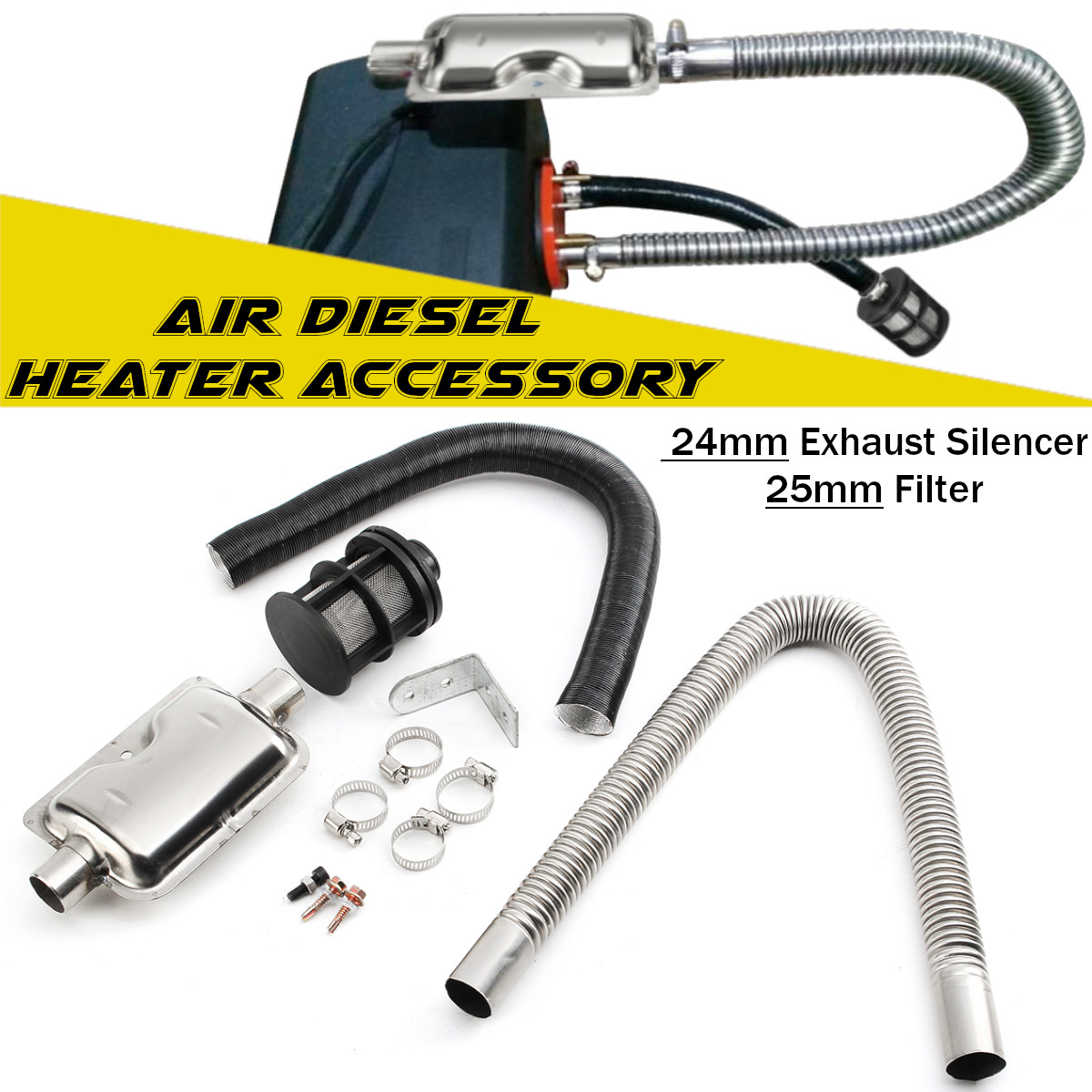 Kecheer Air Diesel Heater Accessory 24mm Exhaust Silencer Filter Exhaust Kit Intake Pipe Set Car Accessories