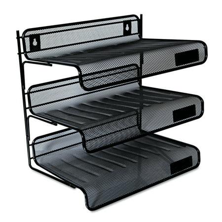 Universal Mesh Three-Tier Desk Shelf, Letter, Black -UNV20006