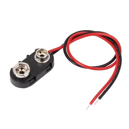 15cm Length Black Red Double Cable Connection 9V Battery Clips Connector Buckle