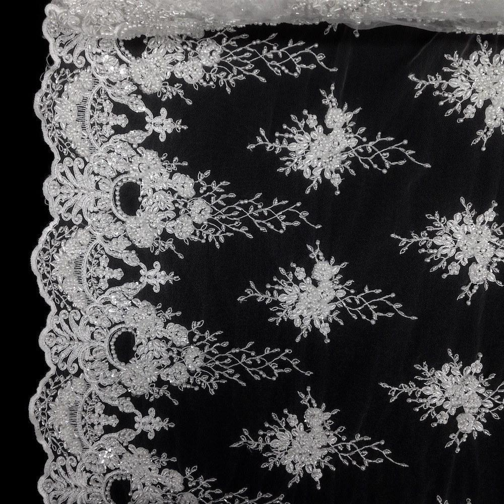 Spirit Bridal Lace Sequins Beaded Scallop Fabric for Dresses 52'' BTY(White)