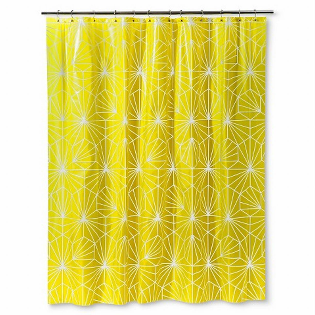 Bright Yellow Geometric Starburst PEVA Vinyl Shower Curtain Bath