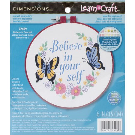 """Dimensions Learn-A-Craft """"Believe In Yourself"""" Crewel Embroidery Kit, 6"""" Round"""