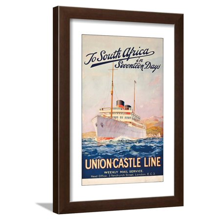 To South Africa in Seventeen Days; an Advertising Poster for Union Castle Line Framed Print Wall Art By Maurice Randall - Date For Halloween In South Africa