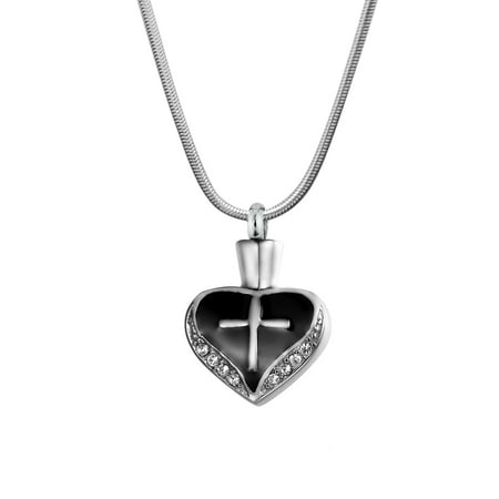 Anavia Cross on Heart Cremation Jewelry Memorial Necklace Ash Urn Keepsake Black with Gift Box