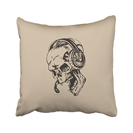 WinHome Vintage Abstract Skull With Headphone Pattern Halloween Hand Painted Polyester 18 x 18 Inch Square Throw Pillow Covers With Hidden Zipper Home Sofa Cushion Decorative Pillowcases](Halloween Patterns To Paint)