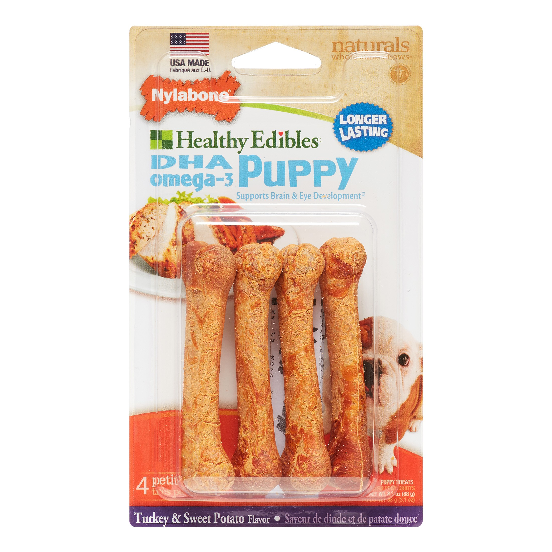 Nylabone Healthy Edibles Chews Petite Sweet Potato & Turkey Puppy Dog Treats, 4 Ct