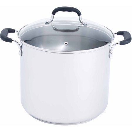 T Fal  Specialty Stainless Steel  C88881  Dishwasher Safe Cookware  12 Qt  Stockpot  Silver