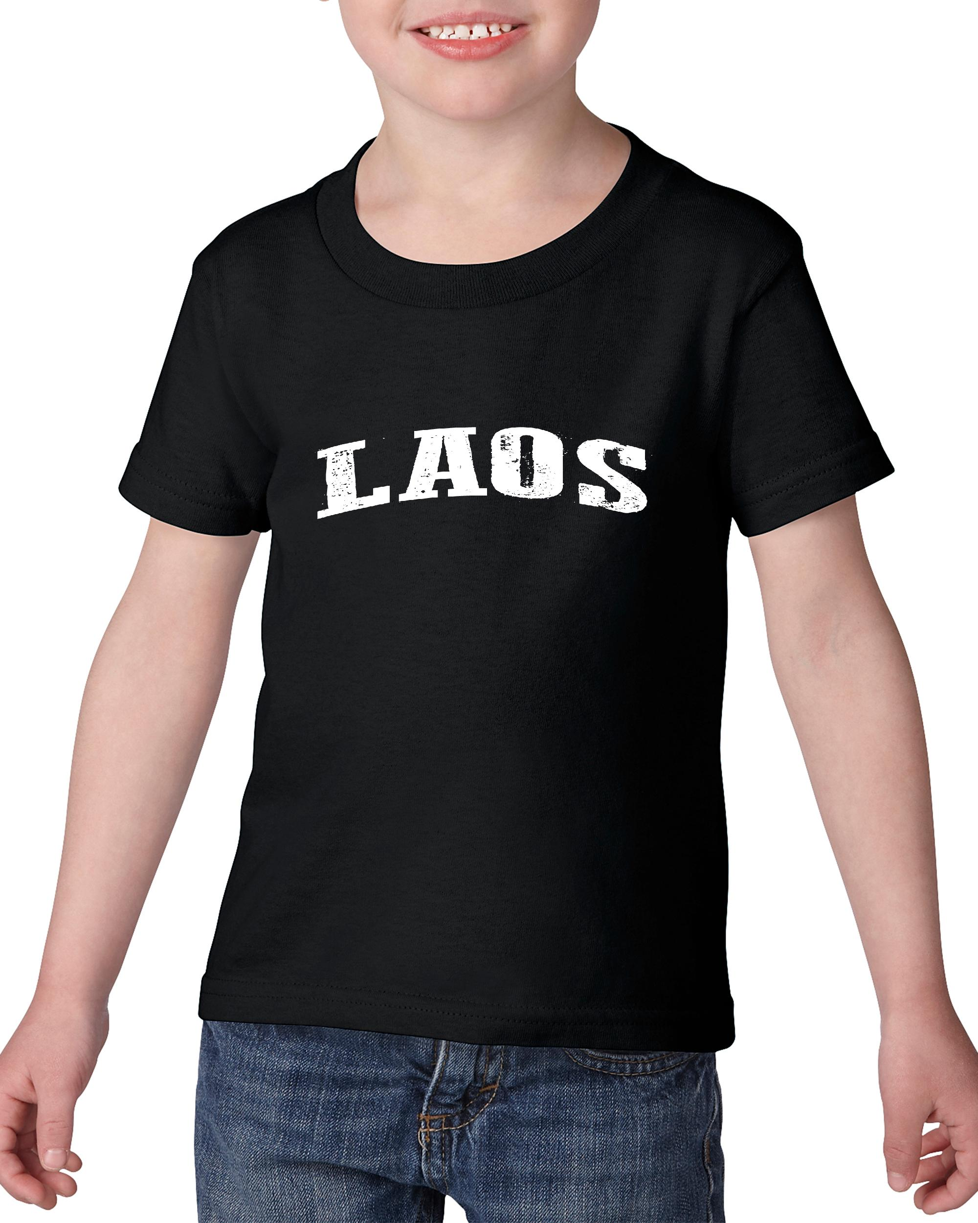 Artix What To Do in Laos Travel Deals Luang Prabang Tour Guide Map Laotian Flag Heavy Cotton Toddler Kids T-Shirt Tee Clothing