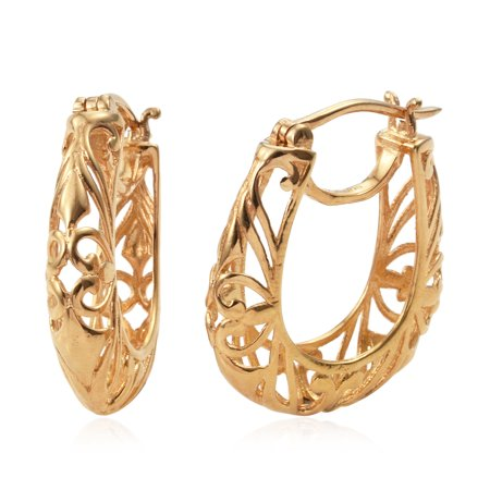 57573e3a9 Shop LC - 14K Yellow Gold ION Plated Filigree Round Openwork Basket Hoops  Hoop Earrings for Women Hypoallergenic Jewelry Gift - Walmart.com