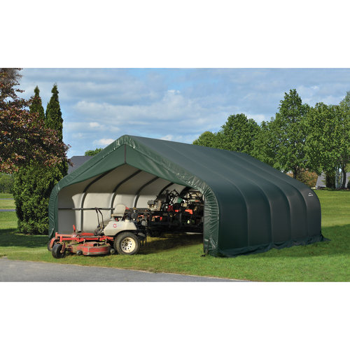 Click here to buy 18' x 28' x 9' Peak Style Shelter, Green by ShelterLogic.