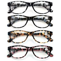 4 Pairs Women Leopard Meow Reading Glasses - Fashion Clear Lens Readers Demi Tortoise