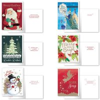 B-THERE Bundle of 36 Christmas Cards, Assorted Holiday Cards 6 Designs Traditional. 4.5in x 6.5in Money Enclosure Cards with Envelopes for Xmas