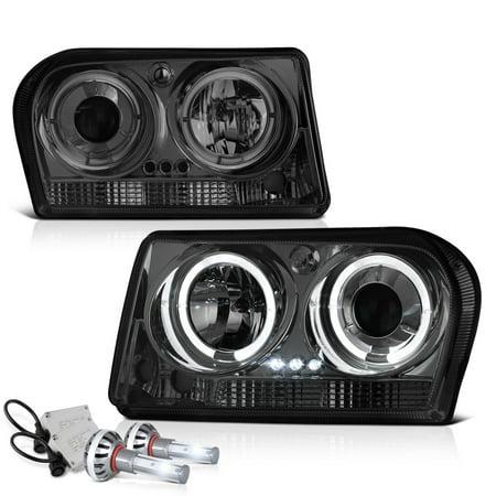 - [For 2005-2008 Chrysler 300 Halogen Model] LED Halo Ring Smoke Lens Projector Headlight Headlamp Assembly, Driver & Passenger Side