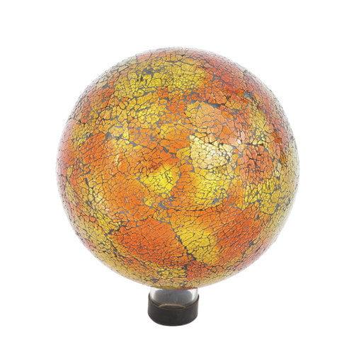 Russco III GD137166 Glass Gazing Ball, 10, Orange Mosaic Crackle by Russco