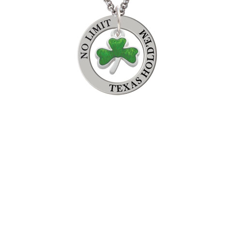 Translucent Green Shamrock Texas Hold'em Affirmation Ring Necklace