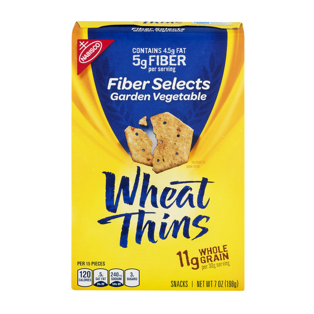Nabisco Wheat Thins Fiber Selects Snack Crackers Garden Vegetable, 7.0 OZ