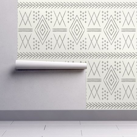 Wallpaper Roll or Sample: Moroccan Mud Cloth Tribal Trendy Boho Tribal Fabric