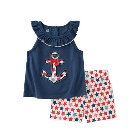 Kids Headquarters Infant Girls Anchor Shirt & Star Shorts Patriotic (Four Star Orly Cord Shorts)