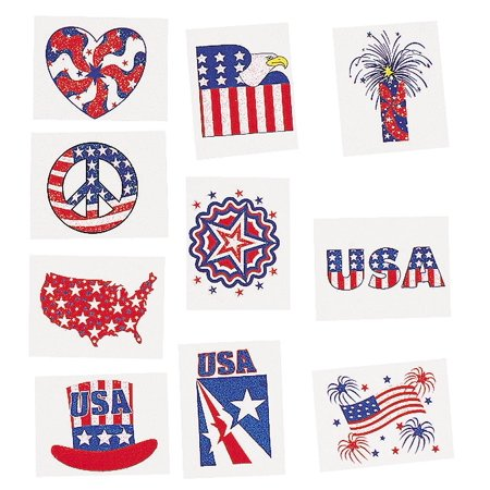 Glitter Patriotic Temporary Tattoos 72 count (6 dozen) for $<!---->